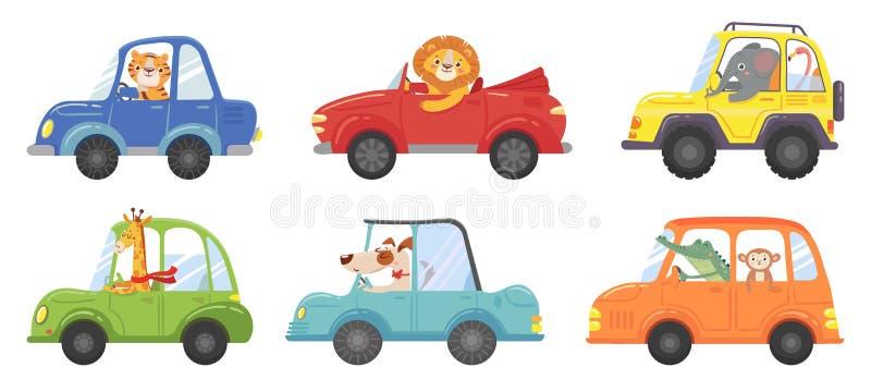 有趣车里可爱的动物 汽车儿童矢量图动物驾驶员、宠物车和快乐狮子插图集 皇族释放例证