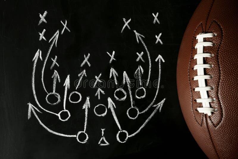 有足球比赛计划和橄榄球球的黑板 库存图片