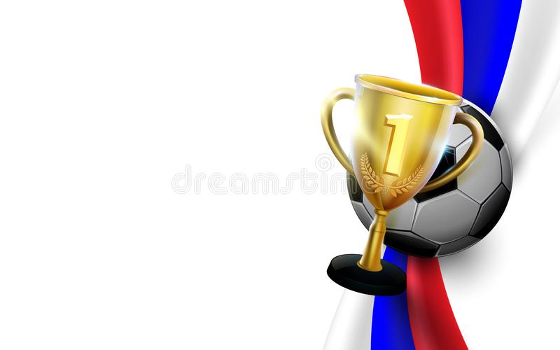 有足球的战利品杯子在俄国旗子背景 向量例证