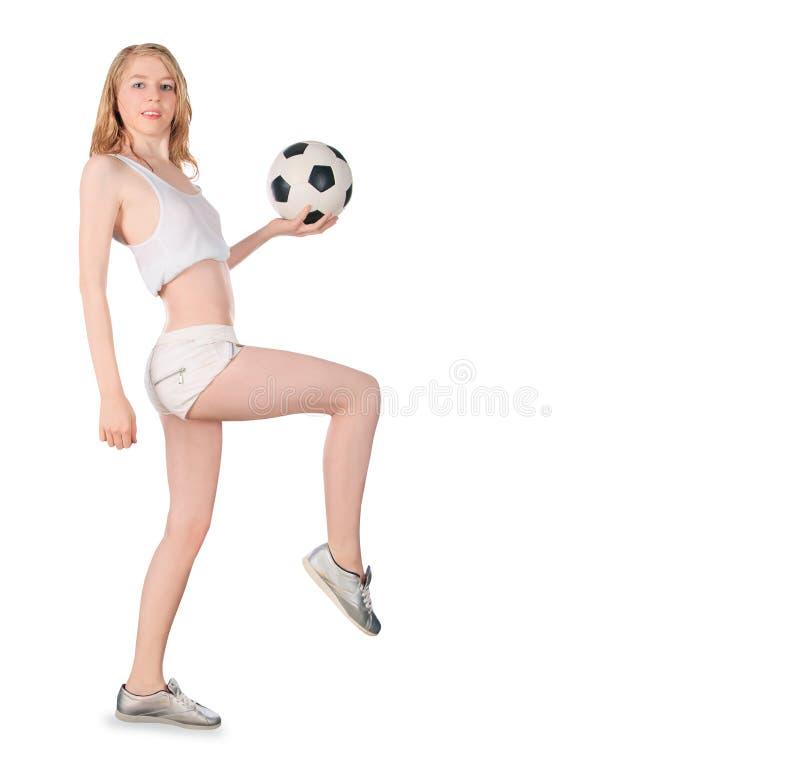 有足球的白种人女性在白色背景 库存照片