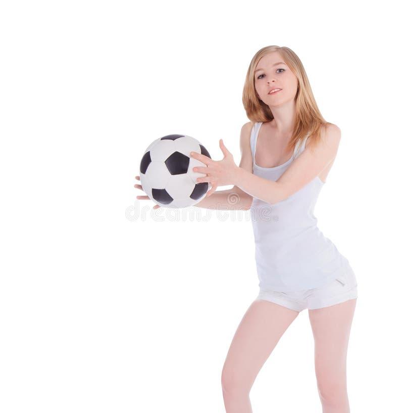 有足球的白种人女性在白色背景 图库摄影