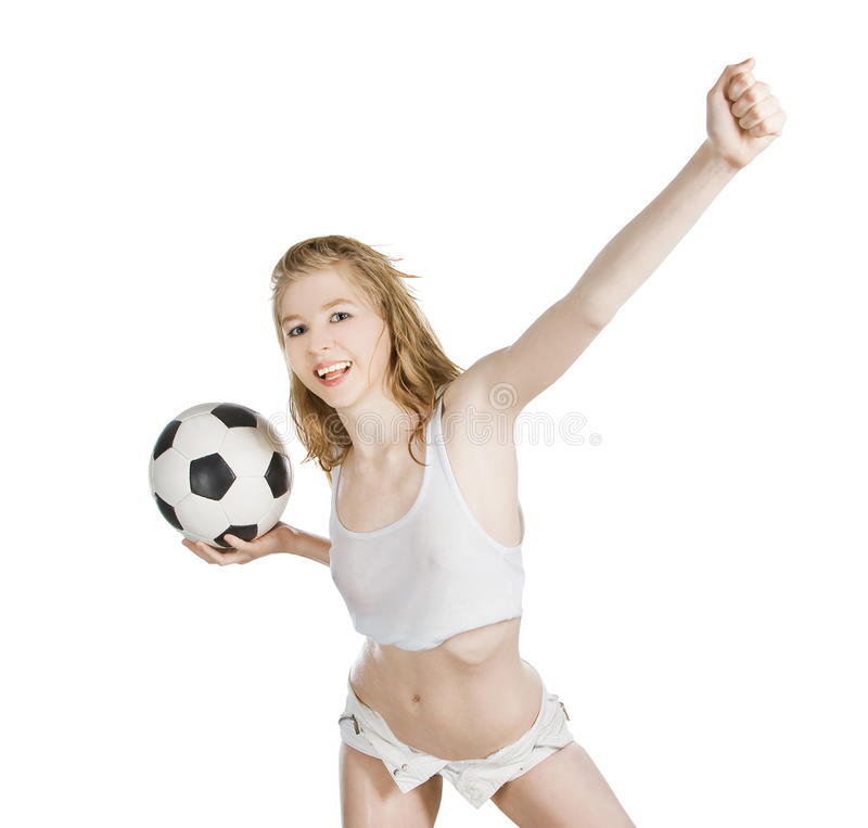 有足球的白种人女性在白色 免版税库存图片