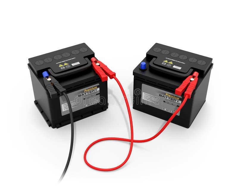 有跃迁助推器的汽车电池在白色背景 库存例证