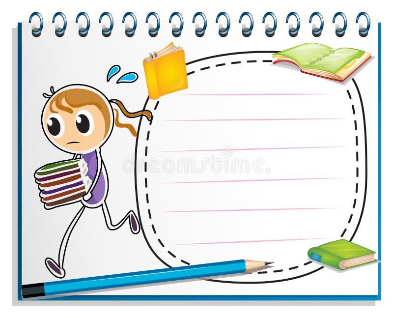 有跑与书的女孩的剪影的一个笔记本 库存例证