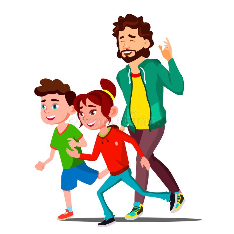 有跑传染媒介的孩子的年轻体育家庭 按钮查出的现有量例证推进s启动妇女 库存例证