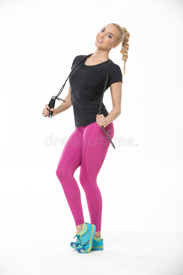有跨越横线的健身女孩 图库摄影