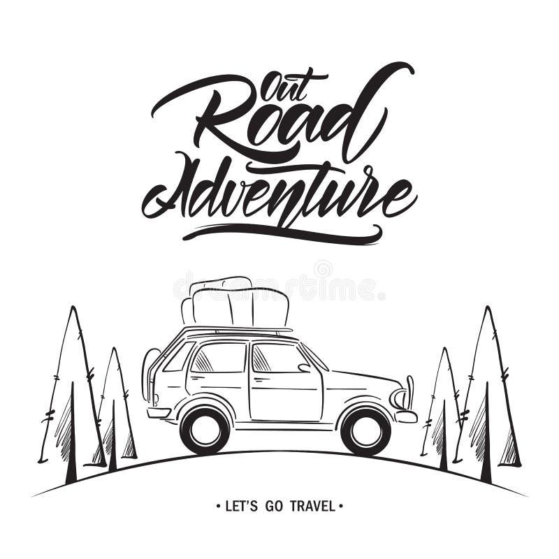 有路冒险手写的字法的手拉的旅行汽车  剪影线设计 向量例证
