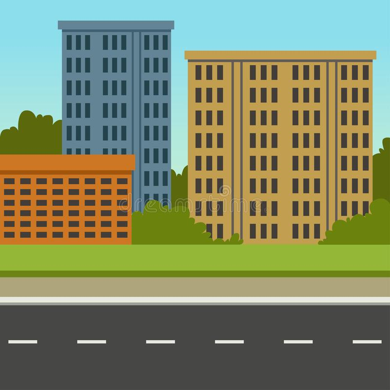 有路和城市大厦的,夏天风景,现代都市背景传染媒介例证城市街道 向量例证