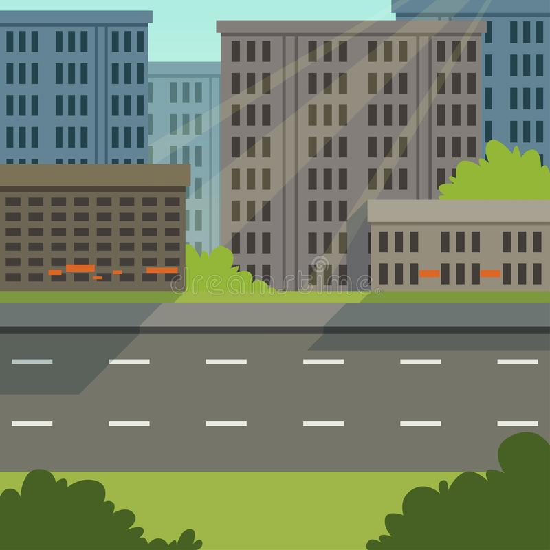 有路和城市大厦的,现代都市风景,都市背景传染媒介例证城市街道 皇族释放例证