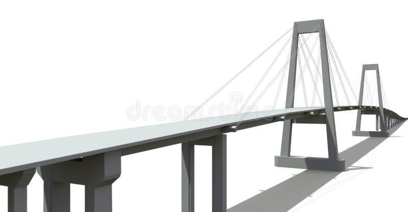 有路天桥的缆绳被停留的桥梁 3d翻译 皇族释放例证