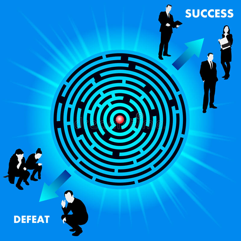 有路线的迷宫到成功或失败 向量例证