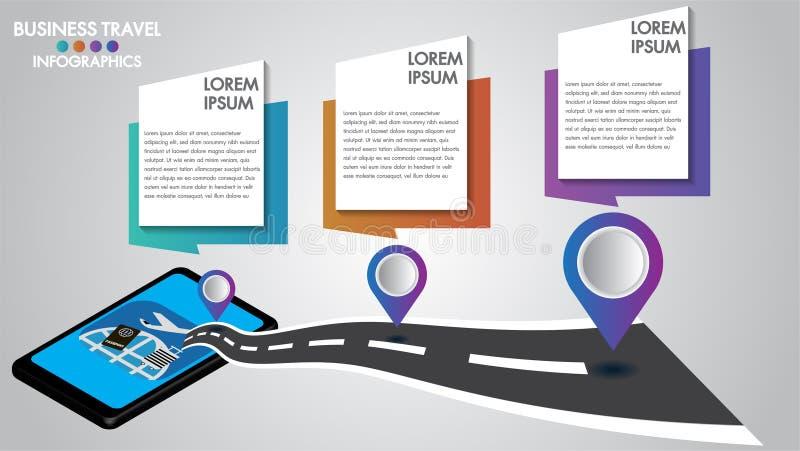有路航海的,导航员技术的概念Infographic设计3d流动片剂 与3步,数字选择的时间安排 库存例证