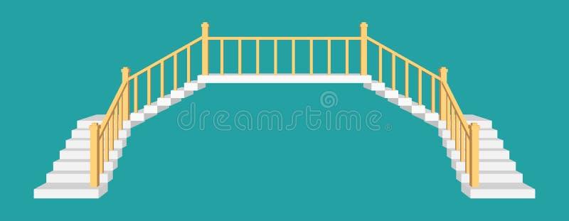 有路轨的台阶 正面图传染媒介例证 库存例证