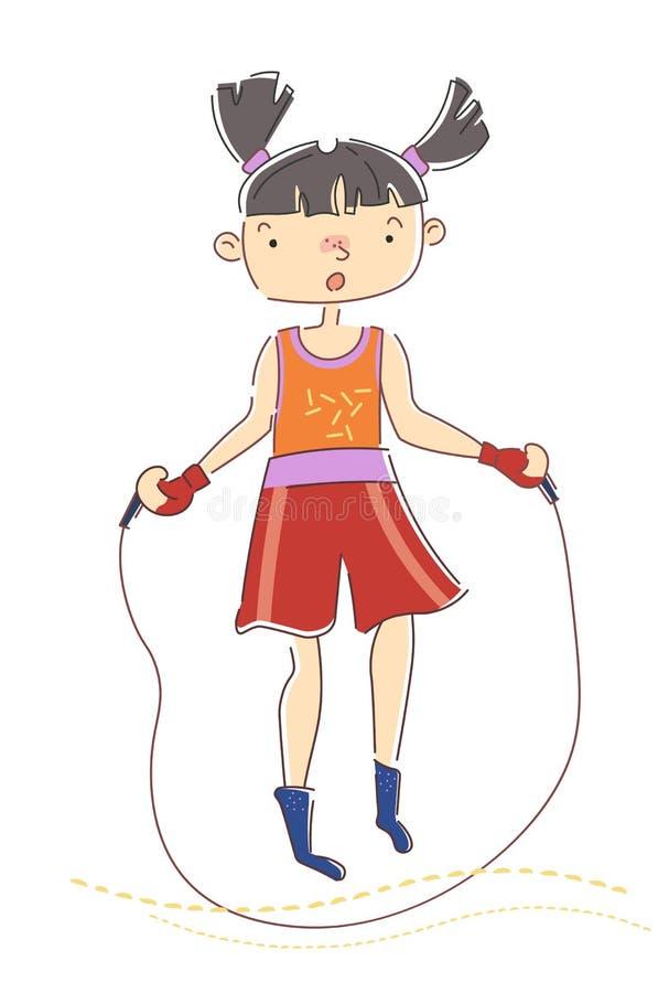 有跳在绳索的猪尾的少女,她为她的在健康、体育和健身概念的锻炼做准备 向量例证