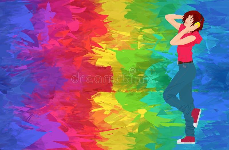 有跳舞和继续前进抽象颜色背景的耳机的年轻时髦的深色的妇女女孩 向量例证