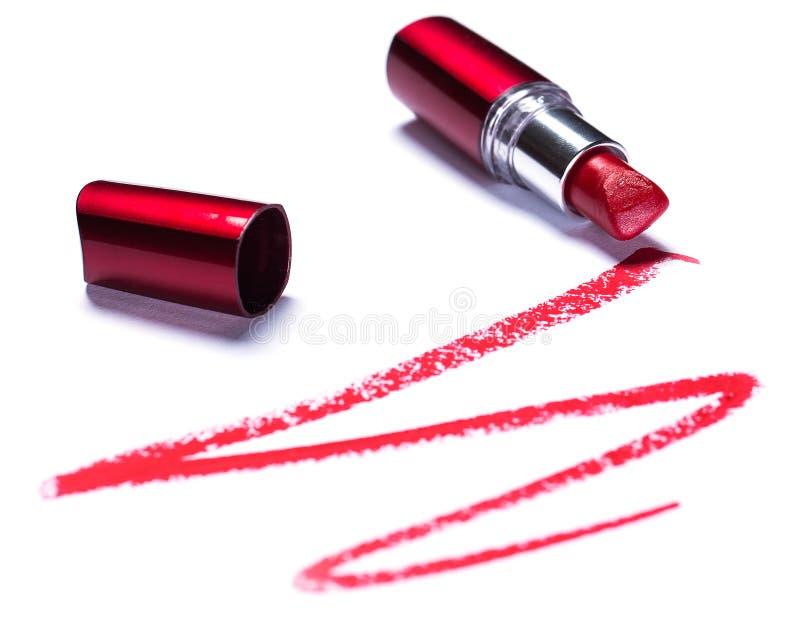 有踪影的红色唇膏 库存图片
