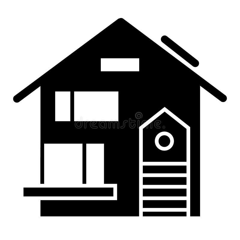 有车库坚实象的乡间别墅 在白色隔绝的家庭传染媒介例证 外部纵的沟纹样式设计,被设计 向量例证
