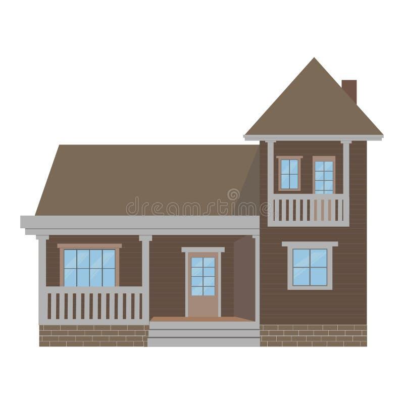 有车库的郊区家庭房子 花卉结构梯度ilustration没有向量 库存例证