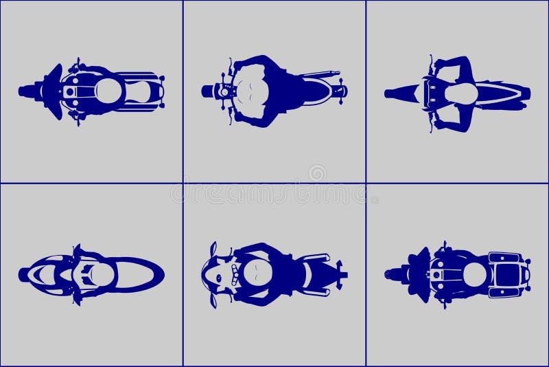 有车手顶视图象集合的摩托车 皇族释放例证