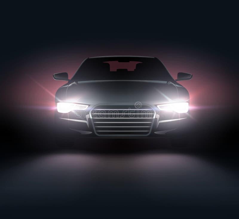 有车灯的汽车 向量例证