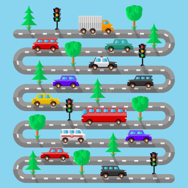 有车的高速公路 平的设计 库存例证