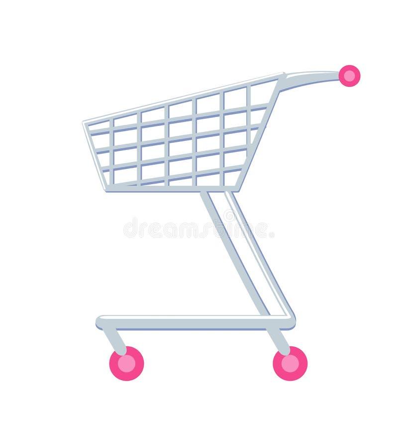 有轮子传染媒介例证的购物车 向量例证