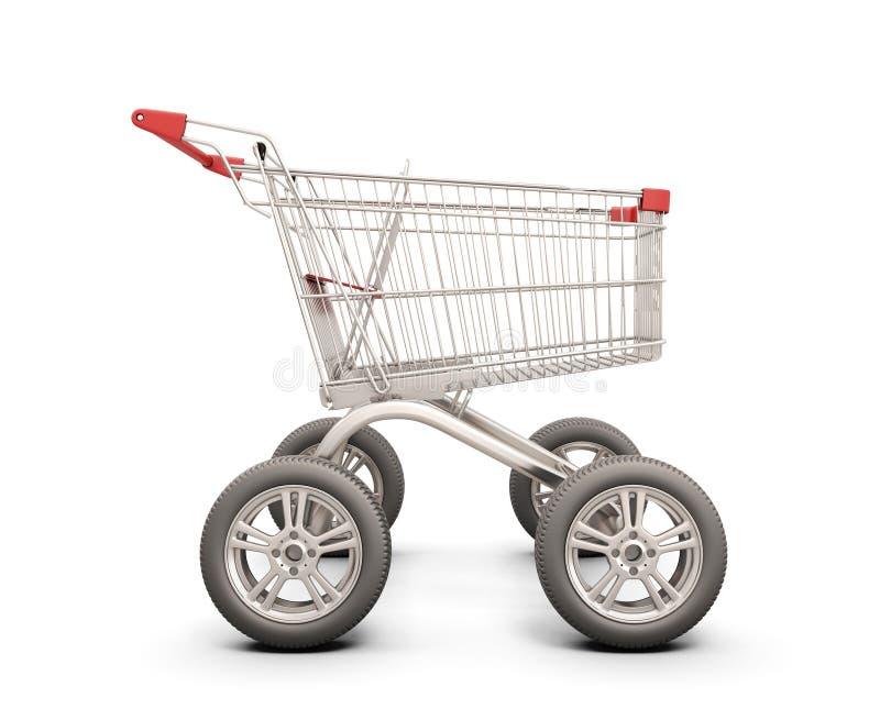有轮子的台车从在白色的汽车 库存例证