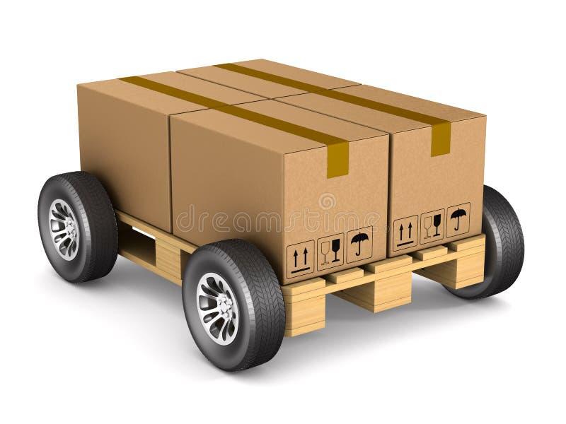 有轮子的木板台在白色背景 被隔绝的3D illus 皇族释放例证