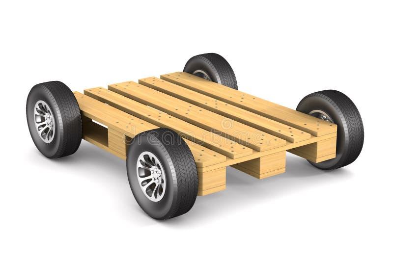 有轮子的木板台在白色背景 被隔绝的3D illus 库存例证
