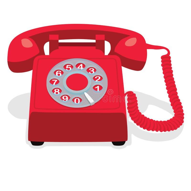 有轮循拨号的红色固定式电话 库存例证