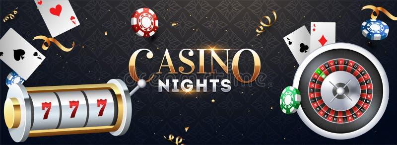 有轮盘赌的赌轮、赌博娱乐场芯片和纸牌例证的现实老虎机在抽象背景 皇族释放例证