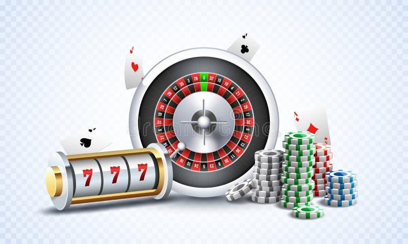 有轮盘赌的赌轮、赌博娱乐场芯片和纸牌例证的现实老虎机在白色png背景 向量例证