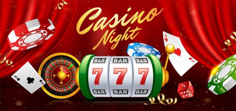 有轮盘赌的赌轮、赌博娱乐场芯片和纸牌例证的现实老虎机在红色帷幕背景 向量例证