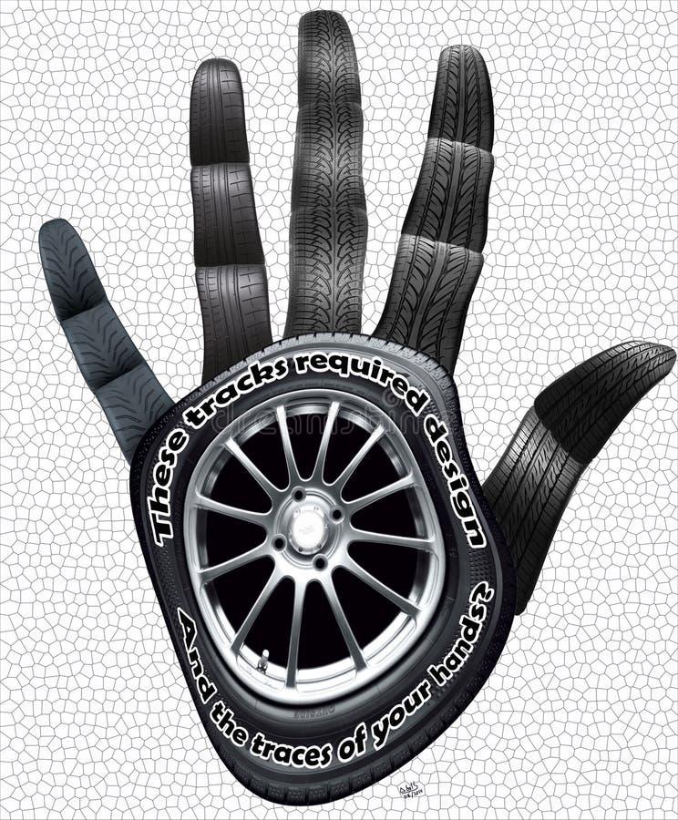有轮胎纹理的轨道的手 免版税库存图片