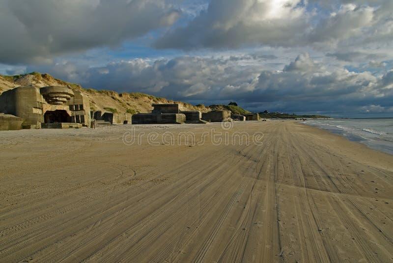 在丹麦海滩的轮胎轨道 免版税库存照片