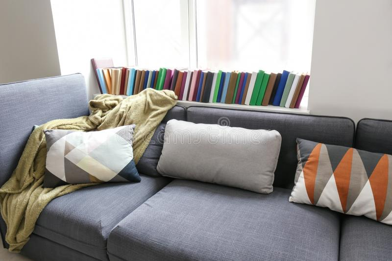 有软的格子花呢披肩和枕头的舒适沙发在窗口附近在屋子里 免版税库存图片
