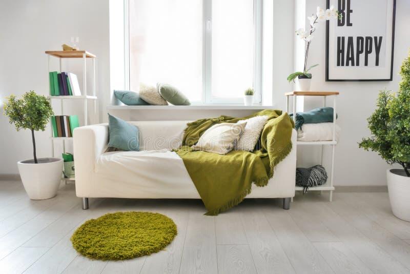 有软的格子花呢披肩和枕头的舒适沙发在窗口附近在轻的屋子里 免版税图库摄影