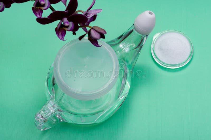 有软的舒适技巧的Neti罐,堆在绿色的盐和紫色兰花花 静脉窦洗涤 鼻灌溉 库存照片