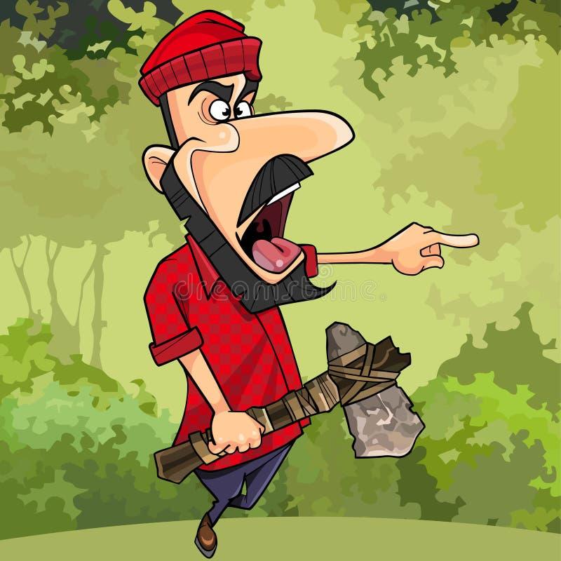有轴威胁的指点的动画片伐木工人在森林里 向量例证