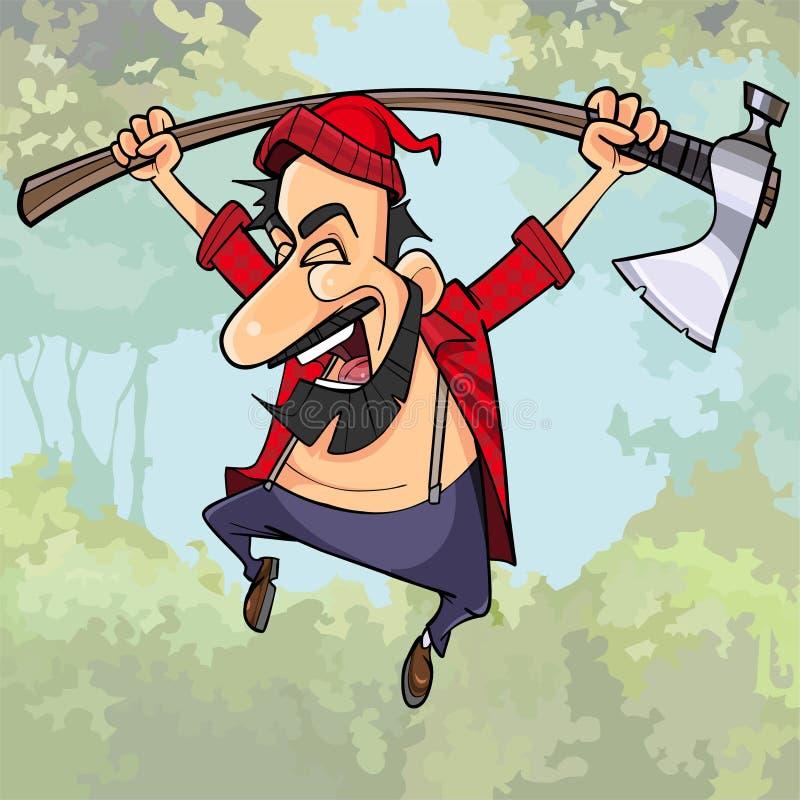 有轴的动画片愉快的伐木工人在森林跳 库存例证