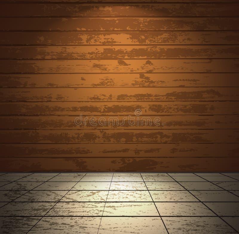 有轻的楼层的木空间 向量例证