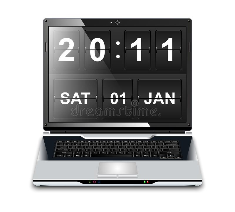 有轻碰时钟屏幕保护程序的现代膝上型计算机 向量例证