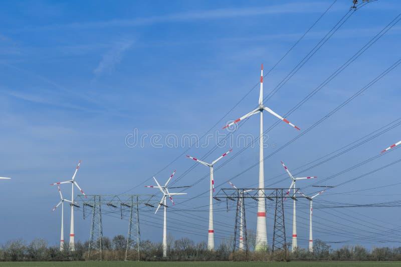 有输电线的风轮机农场 库存照片
