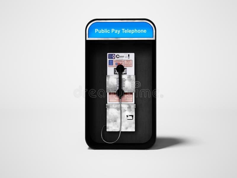 有输送路线电话的电话亭城市分界线的3d回报在与阴影的灰色背景 向量例证