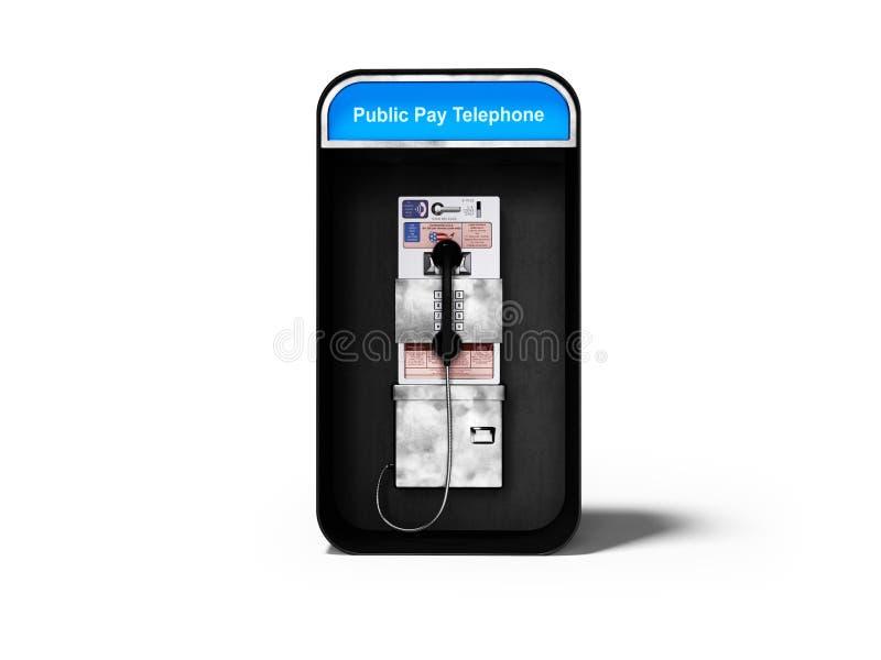 有输送路线电话的电话亭城市分界线的3d回报在与阴影的白色背景 向量例证