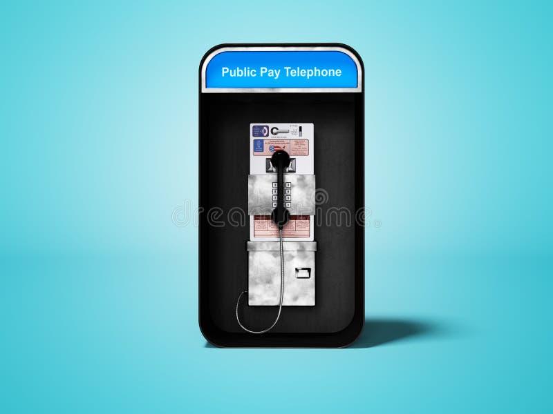 有输送路线电话的电话亭城市分界线的3d回报在与阴影的蓝色背景 皇族释放例证