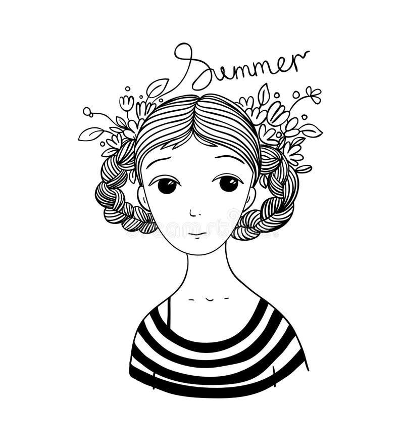 有辫子和花的美丽的女孩 向量例证