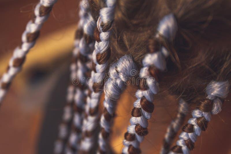 有辫子的亦称女孩头从kanekalon材料,与厚实的褶的创造性的发型或猪尾蓬松卷发辫子 库存图片