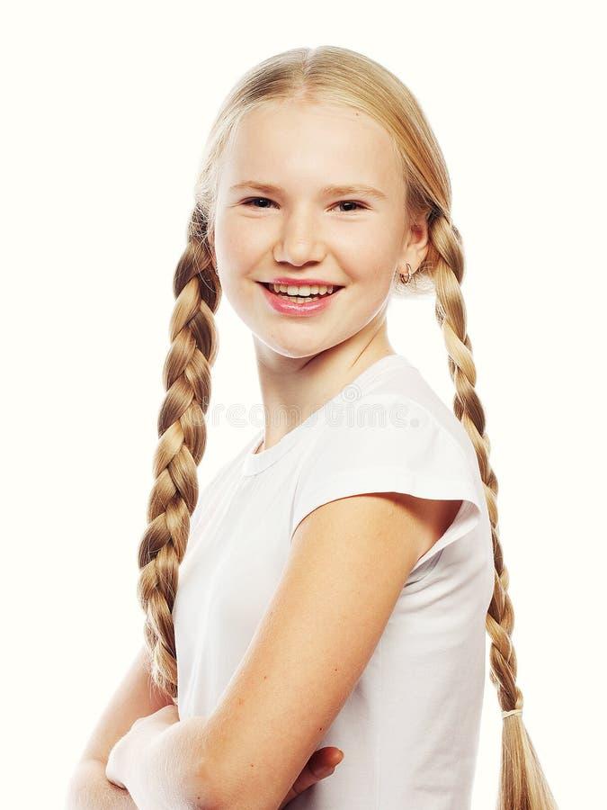 有辫子的美丽的欧洲白肤金发的女孩 图库摄影