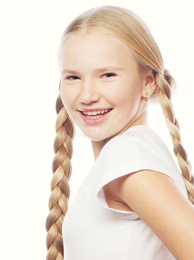 有辫子的美丽的欧洲白肤金发的女孩 库存图片